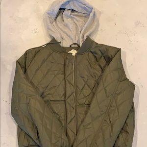 Green Puffer Jacket w/Gray Hood
